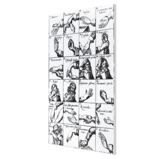 Gestures for miming  John Bulwer's 'Chrilogia Canvas Prints