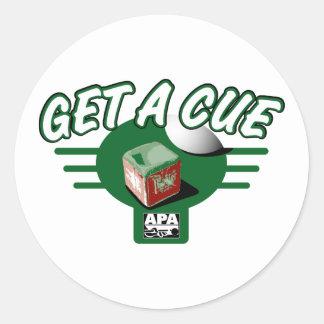 Get A Cue Classic Round Sticker