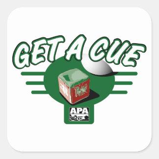 Get A Cue Square Sticker