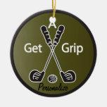Get a Grip Golf Round Ceramic Decoration