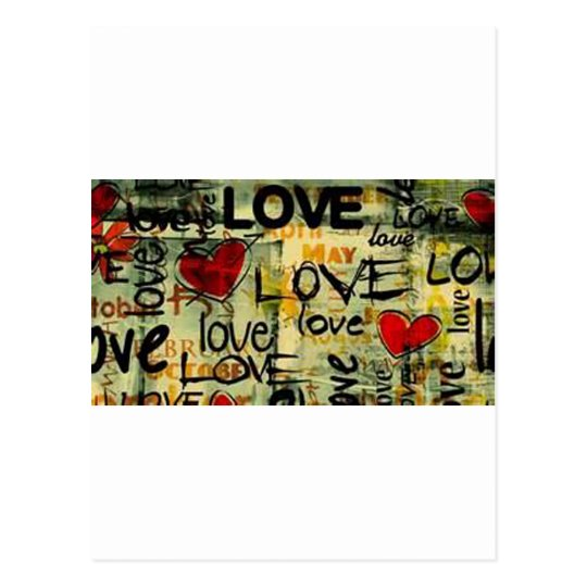 Get A Little Love Graffiti Postcard