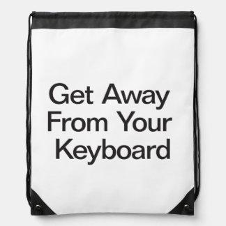 Get Away From Your Keyboard Drawstring Bag