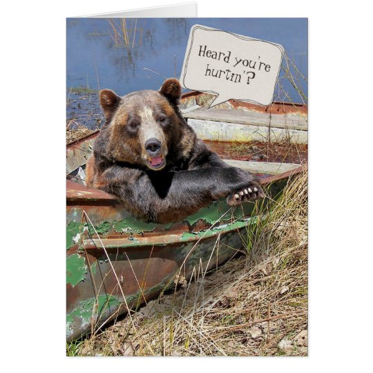 Get better soon-bear in row boat card