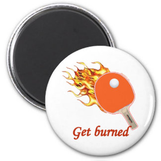 Get Burned Flaming Ping Pong 6 Cm Round Magnet