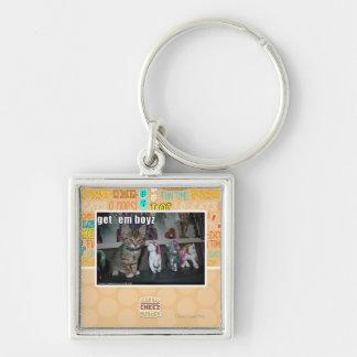 Get em boyz Silver-Colored square key ring