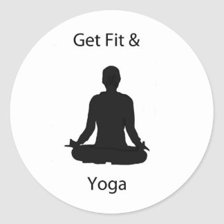 get fit and yoga round stickers