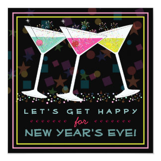 Get Happy on New Years Eve Bright Cocktail Party Card