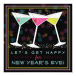 Get Happy on New Years Eve Bright Cocktail Party Personalised Announcement