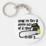 Get Hippies Out Of Your Trees Keychain