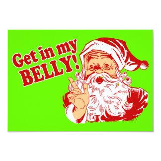 Get in My Belly Christmas Dinner 9 Cm X 13 Cm Invitation Card