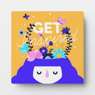 Get inspired nature girl colorful illustration display plaque