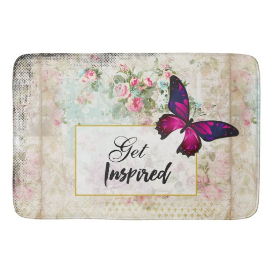 Get Inspired Quote & Pink Butterfly Shabby Collage