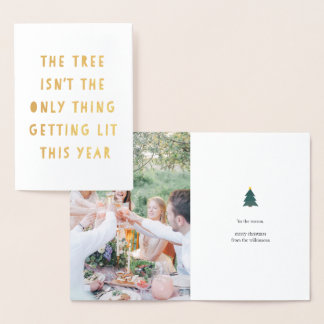 Get Lit | Gold Foil Funny Christmas Photo Card