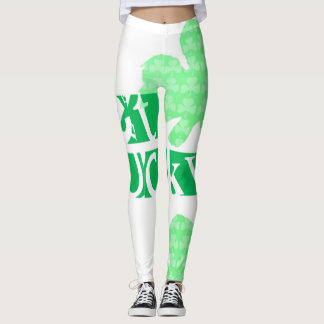 Get Lucky L Clover Shamrocks St Patty W Leggings