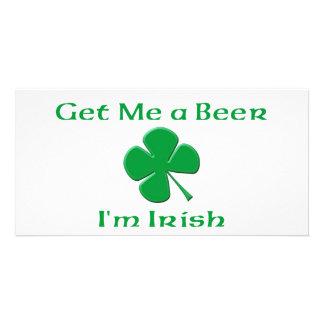 Get Me a Beer I'm Irish Custom Photo Card
