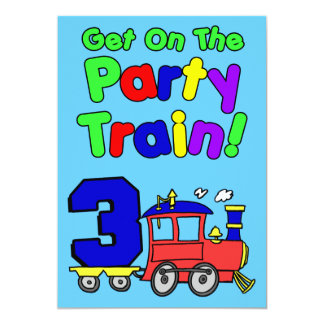 Get On The Party Train 3 Year Old Card