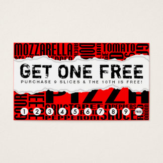 get one free SLICE OF PIZZA Business Card