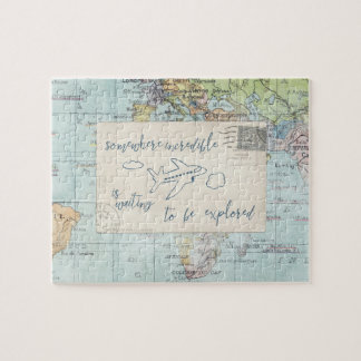 Get out and Explore Quote and Map Jigsaw Puzzle