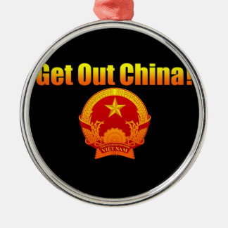 Get Out Chine! Silver-Colored Round Decoration
