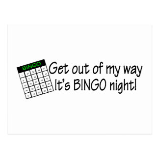 Get Out Of My Way Its Bingo Night Postcard