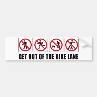 Get Out Of The Bike Lane Bumper Sticker