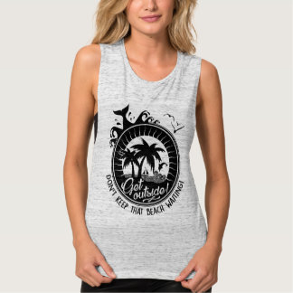 Get Outside Funny Beach Pun Typography Quote Tank Top
