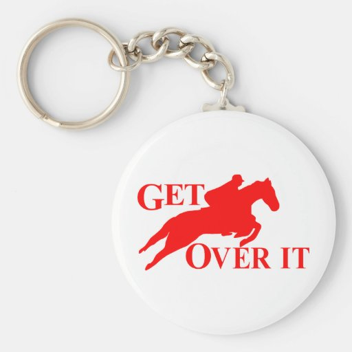GET OVER IT HORSE BASIC ROUND BUTTON KEY RING