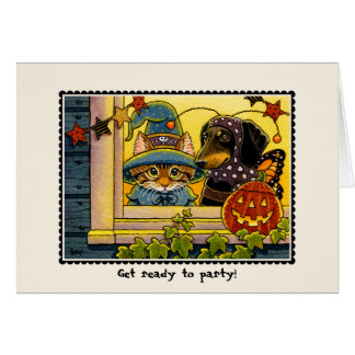 'Get Ready to Party' Halloween Cat & Dog Notecard