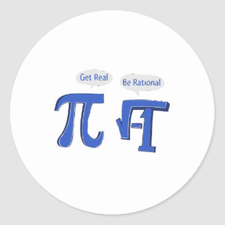 Get Real Be Rational Round Sticker