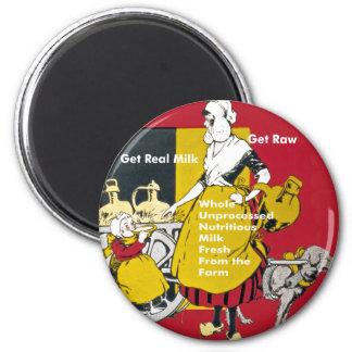 Get Real Milk- Get Raw Vintage Poster 6 Cm Round Magnet