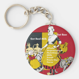 Get Real Milk- Get Raw Vintage Poster Basic Round Button Key Ring