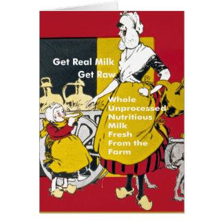 Get Real Milk- Get Raw Vintage Poster Greeting Card