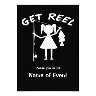 Get Reel - Little Girls Fishing 13 Cm X 18 Cm Invitation Card