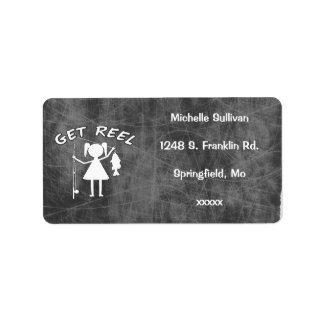 Get Reel - Little Girls Fishing Address Label