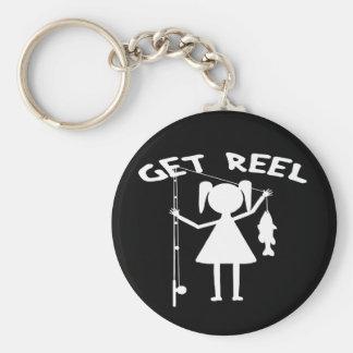 Get Reel - Little Girls Fishing Basic Round Button Key Ring