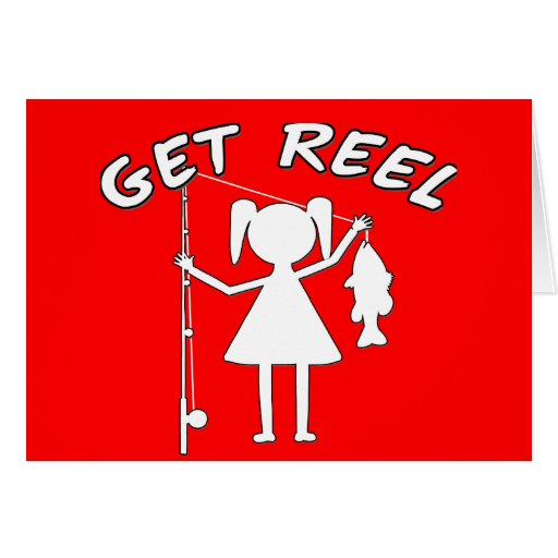 Get Reel - Little Girls Fishing Greeting Card