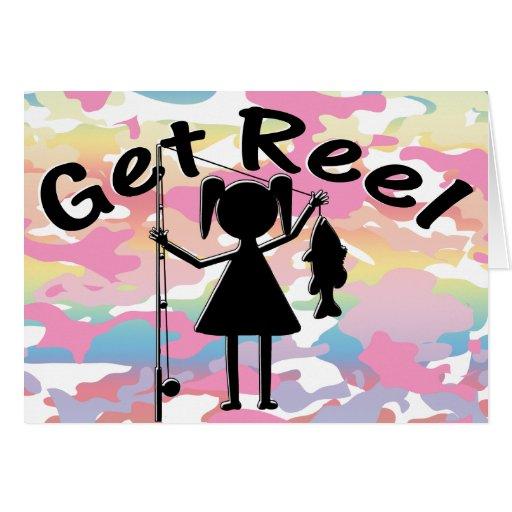 Get Reel - Little Girls Fishing Greeting Cards