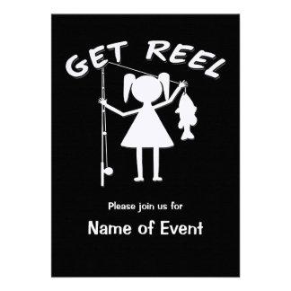 Get Reel - Little Girls Fishing Custom Invite