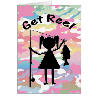 Get Reel - Little Girls Fishing Greeting Card