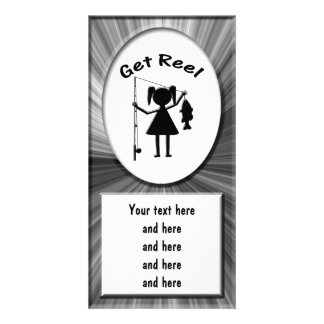Get Reel - Little Girls Fishing Personalized Photo Card