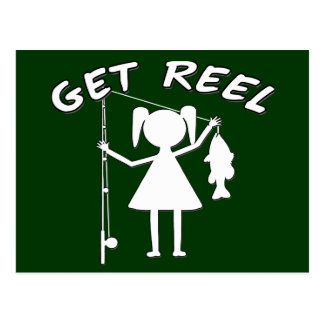 Get Reel - Little Girls Fishing Postcard