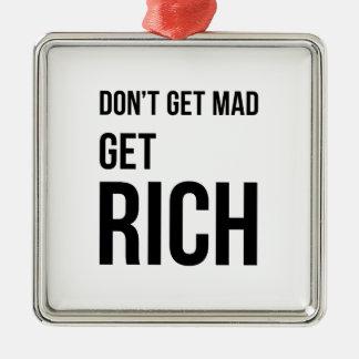 Get Rich Business Success Quote Black White Silver-Colored Square Decoration