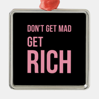 Get Rich Money Quote Inspirational Pink Black Silver-Colored Square Decoration