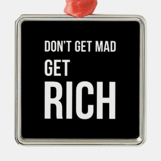 Get Rich Success Motivational Quote White on Black Silver-Colored Square Decoration