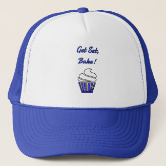 Get set bake blue cupcake trucker hat
