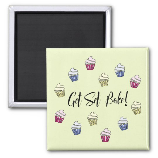 Get Set Bake colourful cupcakes Magnet