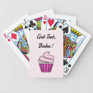 Get set bake pink cupcake bicycle playing cards
