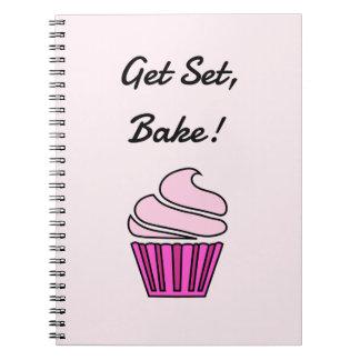 Get set bake pink cupcake spiral notebook