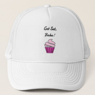Get set bake pink cupcake trucker hat