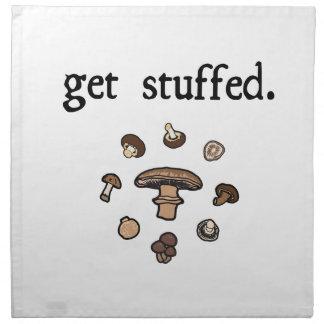 get stuffed. (mushrooms) napkins